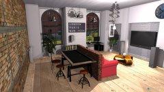 Raumgestaltung Loft 325 v10 CEGLANA CEGLA i beton open i osobna sypialnia in der Kategorie Wohnzimmer