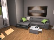 Raumgestaltung modernes Wohnzimmer mit Erker in der Kategorie Wohnzimmer