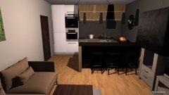 Raumgestaltung salon z aneksem kuchennym in der Kategorie Wohnzimmer