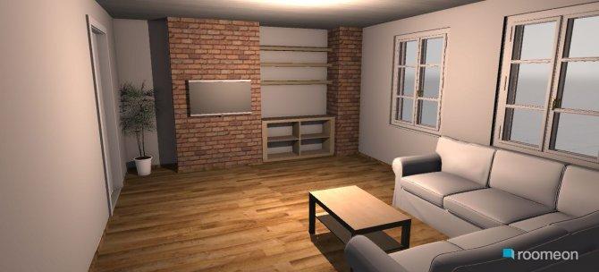 Raumgestaltung Wohnwand Backstein in der Kategorie Wohnzimmer