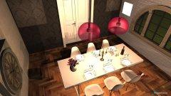 Raumgestaltung Wohnzimmer mit Essplatz in der Kategorie Wohnzimmer
