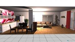 Raumgestaltung wohnzimmer mit Küche in der Kategorie Wohnzimmer