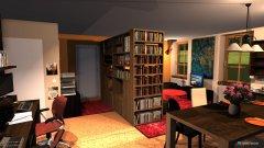 Raumgestaltung WoZi 6 Raumteiler hinter Schreibtisch, Schreibtische im Flur in der Kategorie Wohnzimmer