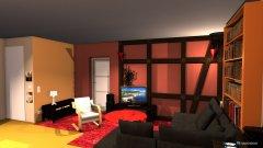 Raumgestaltung WoZi 6 Raumteiler quer an der Wand, Schreibtische im Flur, Regal quer in der Kategorie Wohnzimmer